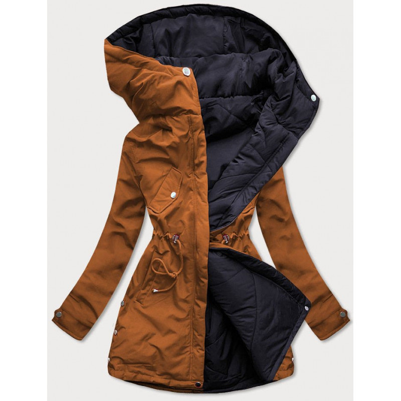 LONG QUILTED HOODED JACKET BLACK (7240) striukė